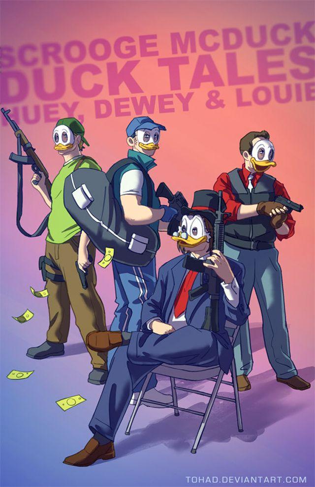 Payday 3: Duck Tales - If Classic Childhood Characters Were Badass Lunatics via Kotaku - French digital artist Sylvain Sarrailh