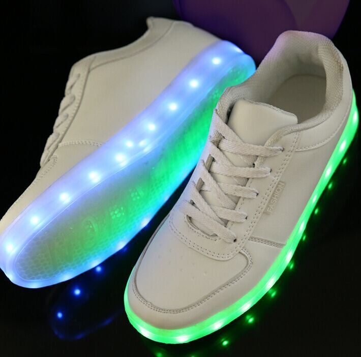LED Sneakers - Deluxe Rechargeable LED Light-Up Sneakers - White !-- Click  to Enlarge--   4c4ef5ddb65a