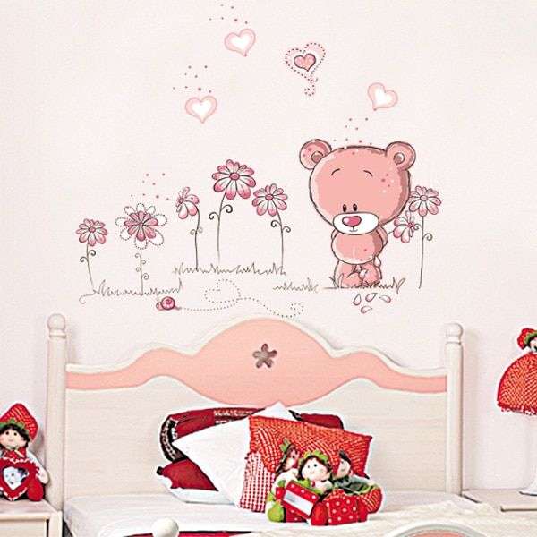 Good Cute Pink Cartoon Animal Love Bear Flower Baby Children Bedroom Room Decor Wall  Stickers Kids Nursery Decal Sticker Girl Gift Review