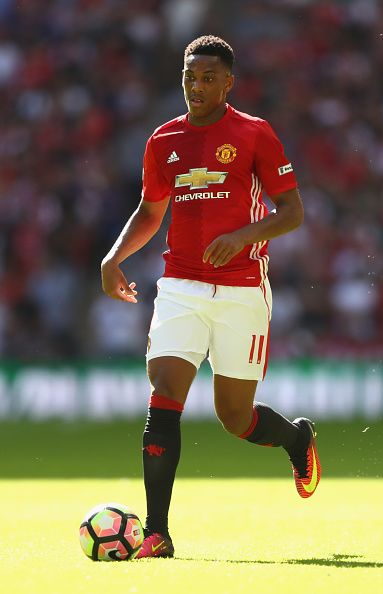 Anthony Martial of Manchester United during the Community Shield match between Leicester City and Manchester United at Wembley Stadium on August 7...