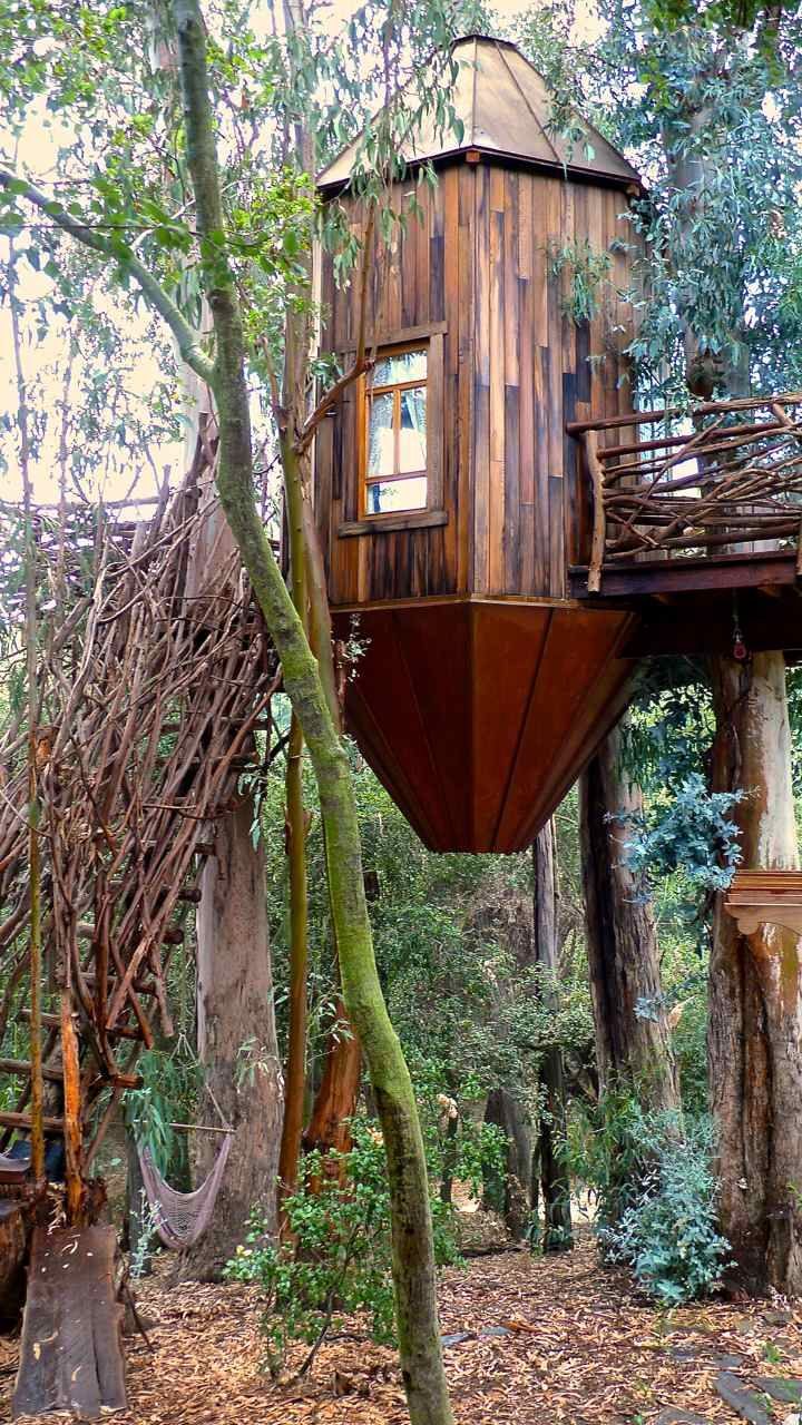 In Topanga Canyon, the work of treehouse designer Roderick Romero and carpenter Jeff Casper—a copper and reclaimed wood-clad Moroccan lanter...