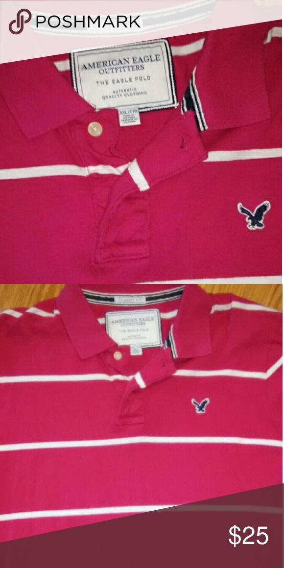 American Eagle Shirt Classic Fit 2X XXL Hot pink White stripes Super comfortable American Eagle Outfitters Shirts Polos
