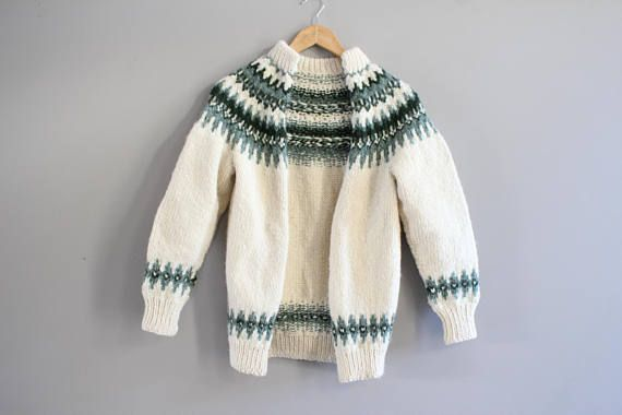 Hand knitted Cowichan Chunky Knit Cardigan Cream Green Nordic
