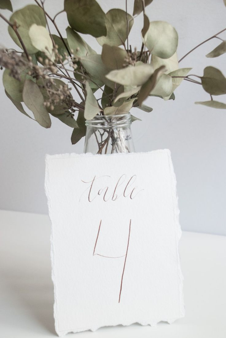 Wedding Table Numbers Organic Calligraphy Deckled Edges   3 Affordable Wedding Calligraphy Ideas   Bon Paper House