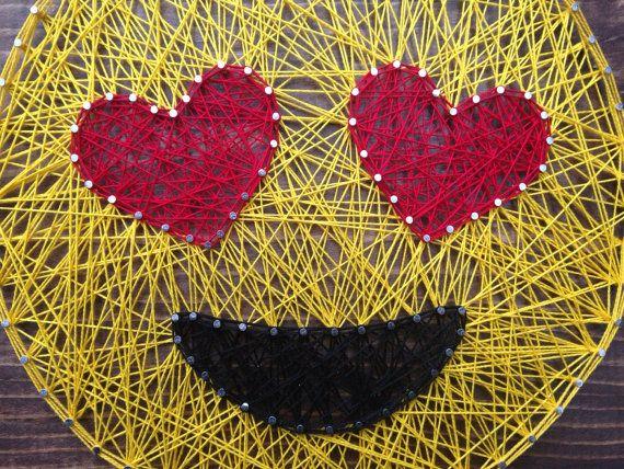 MADE TO ORDER Heart Eyes Emoji String Art by MadeByTheNeedle