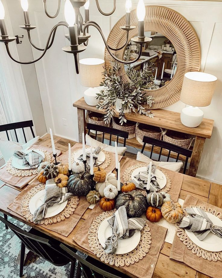 I Set My Table For Fall Today I Ll Probably Tear It Down Because Who Can Honestly Live Like This Funky Dining Room Interior Vignette Fall Home Decor