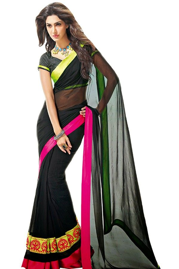 Black georgette Designer Bollywood Saree