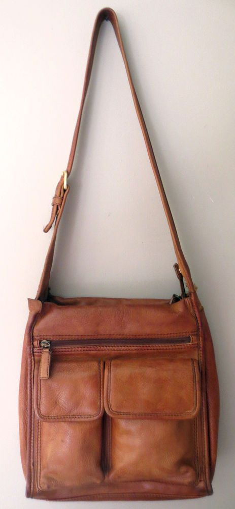 Vintage Fossil Distress Brown Leather Cross Body Messenger Bag Organizer Purse