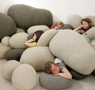 Stone looking Bean Bags - Great idea for keeping a neutral palette