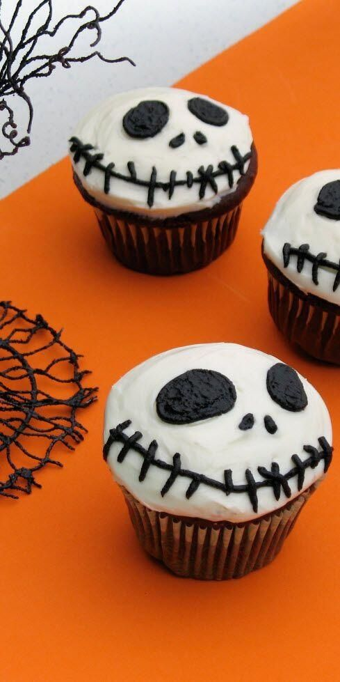 Nightmare Before Christmas Jack Skellington cupcakes! Need to do this!