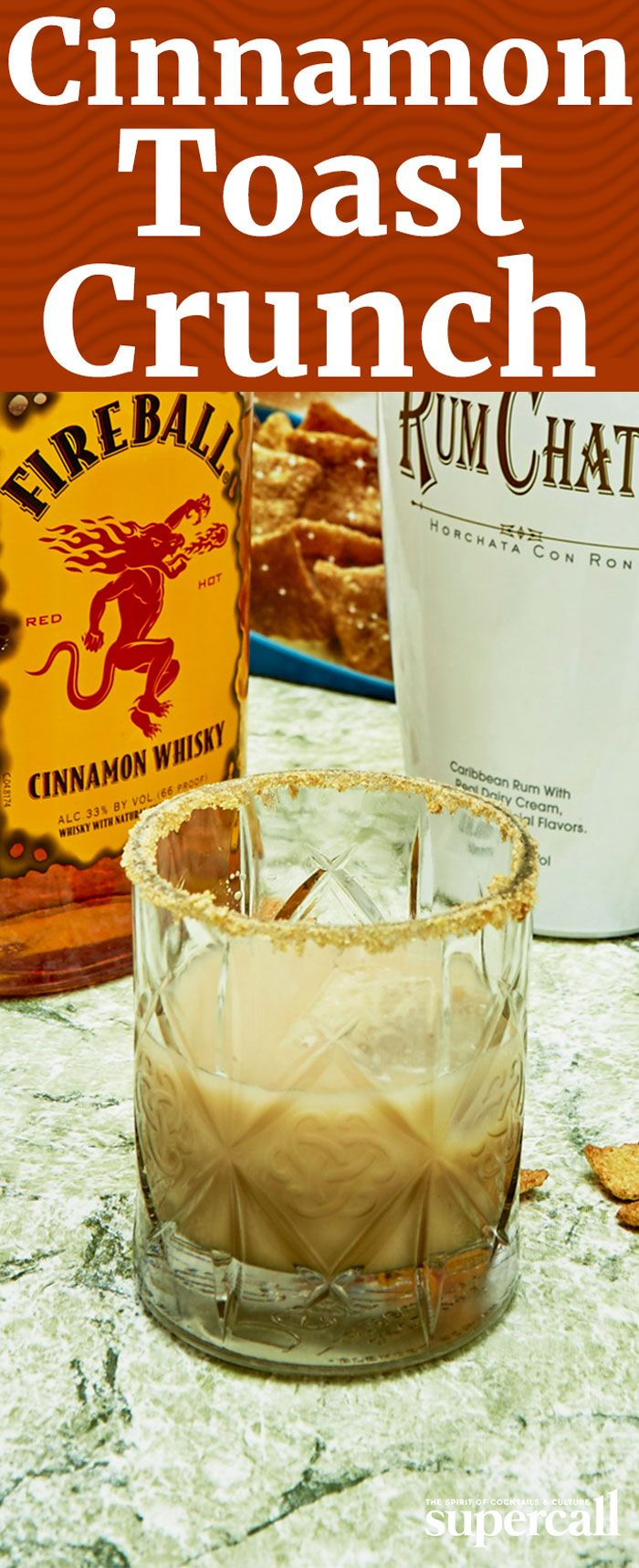 When you mix Fireball and Rumchata, you get a cocktail that tastes shocking like liquid Cinnamon Toast Crunch. So we figured, why not take it one step further and rim it with the actual cereal?