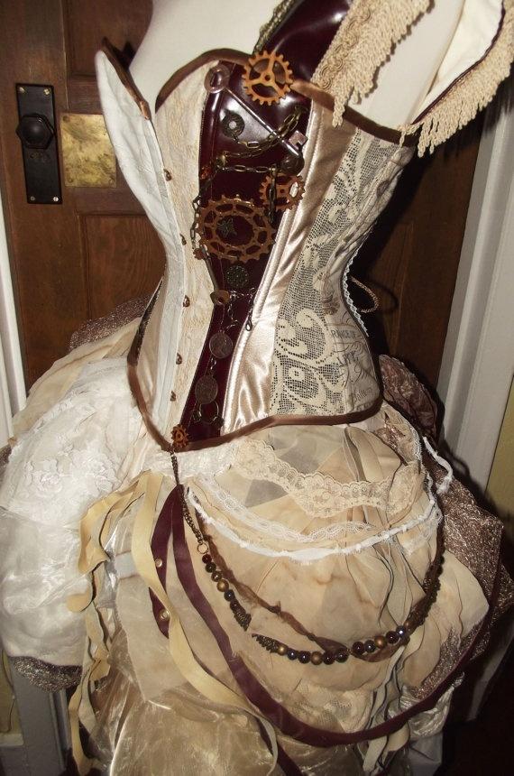 Steampunk wedding dress im serious this is awesome for Steampunk corset wedding dress