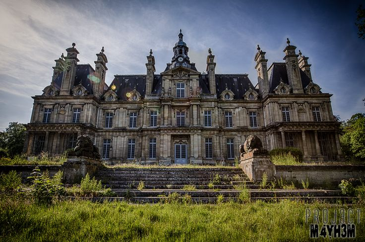 The abandoned Château de Carnelle (Castle Franconville) designed for André Philippe Alfred Regnier, Duke of Massa, in 1875 by renowned architect Hippolyte Destailleur. Located on the edge of the forest Carnelle, in the Ile de France region of France. This land was given to the monks of Saint-Denis by Charles V. The Duke of Massa, childless, donated his estate to the city of Paris and it was converted into a sanatorium in 1930.  The castle was finally closed in 1992.