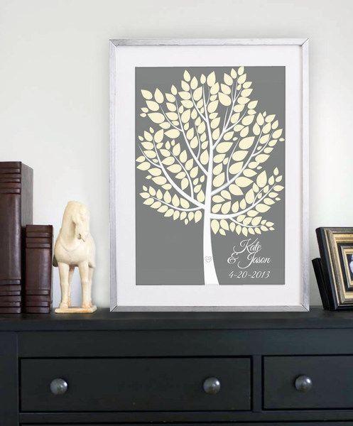 Gästebuch Hochzeit - Printed Wedding Tree +ink pad von GoldArte auf DaWanda.com