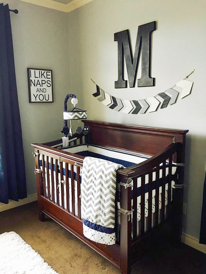 Adorable gray and navy nursery featuring our Out of the Blue Crib Bedding from My Baby Sam | Navy and Gray Baby Bedding