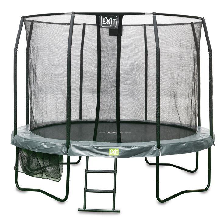 Exitin Jumparena trampoliinipaketti sisältää  3,05m leveän trampoliinin turvaverkolla sekä tikkaat ja säilytyspussin tarvikkeille! Soveltuu pieneen pihaan!