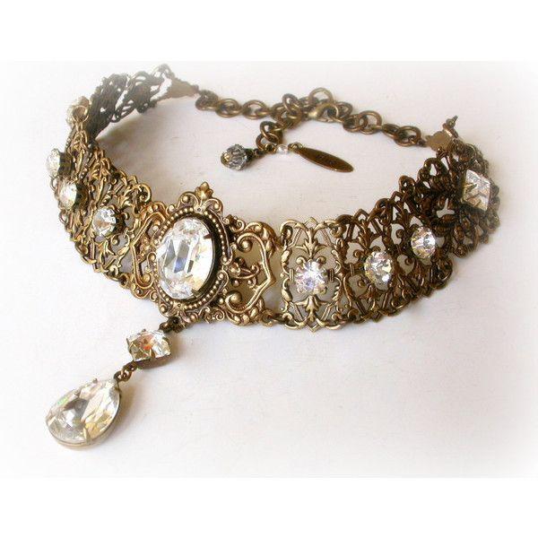 Swarovski Crystal Choker - Victorian Gothic Brass Choker - Victorian... ($165) ❤ liked on Polyvore