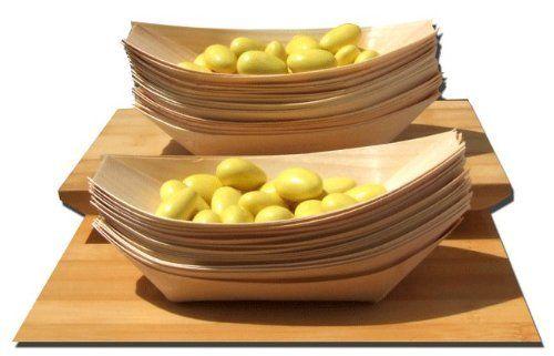 Bambus-Schiffchen für Fingerfood, Snacks, Knabbereien; 175 x 85mm, 100 Stück Vinatge Wood Style