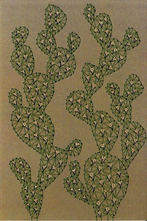 Imaginary Landscape - Cactus by Sarah K Benning (Print of Hand embroidery)