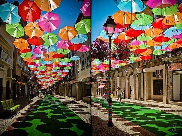 Paraguas coloridos del Agueda, Portugal.
