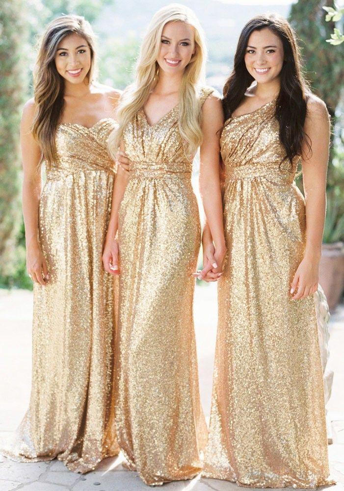 7be38529277 Robe longue en paillette décolleté dos nu v-cou élégant de mariée soirée  dorée