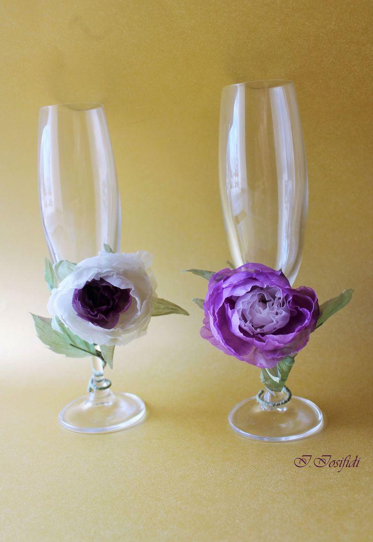17 best my wedding glass decoration ideas images on pinterest purple wedding glasses junglespirit Images