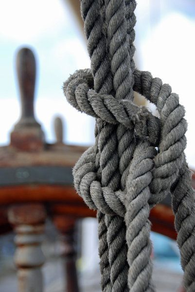 Knot from lines on the deck old polish sail Dar Pomorza from Gdynia