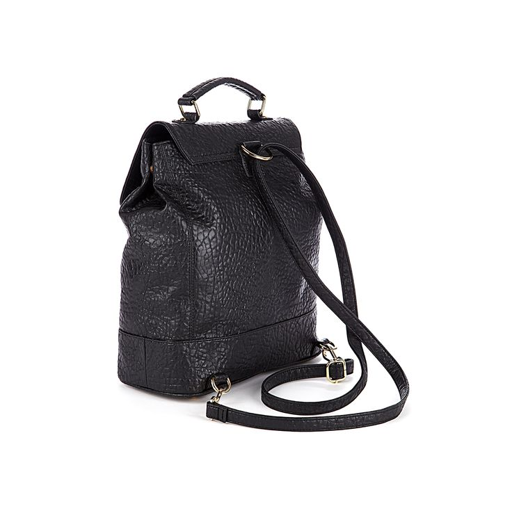 Black Textured Backpack