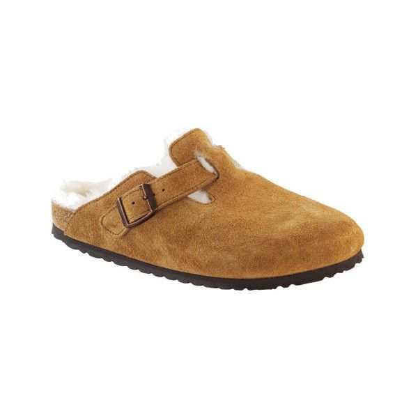 Women's Birkenstock Boston Suede Shearling Clog ($165) ❤ liked on Polyvore featuring shoes, clogs, casual, casual shoes, suede mules, evening shoes, birkenstock shoes, birkenstock clogs and low heel evening shoes