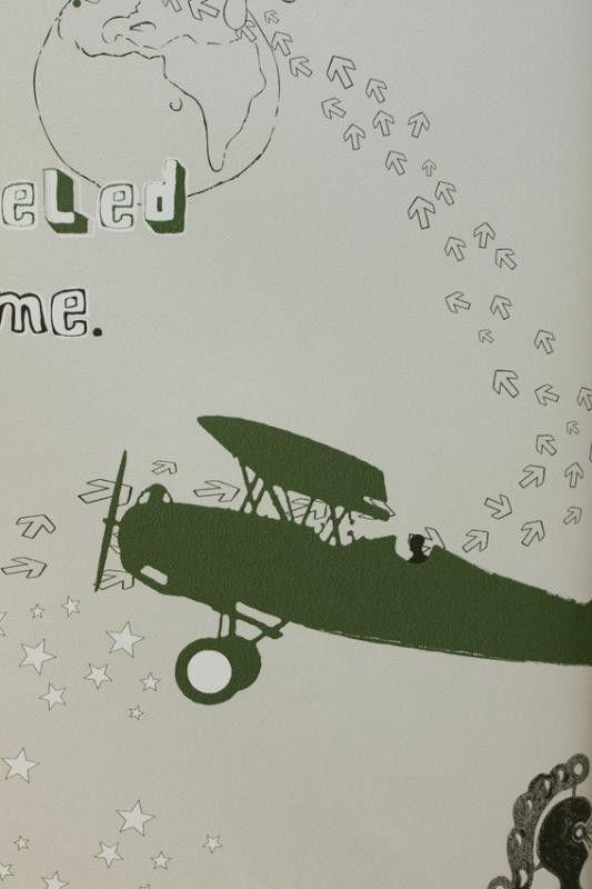 Behang vliegtuigen/straaljagers legergroen Onszelf