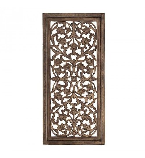 WOODEN WALL DECOR IN BRASS-GREY COLOR 60Χ3Χ128