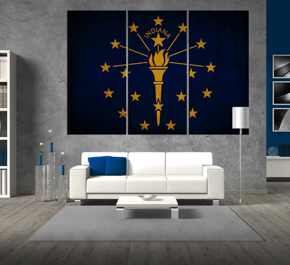 State of Indiana flag canvas Print wall art flag by ArtCanvasShop