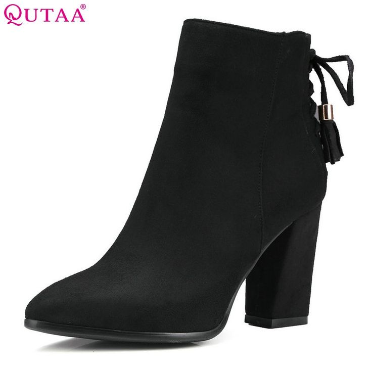 31.93$  Buy here - http://alicho.shopchina.info/1/go.php?t=32717519563 - QUTAA 2016 Women Shoe Zipper Ladies Square High Heel Black Bow Tie All Match Ankle Boot Women Motorcycle Boots Size 34-43  #magazineonlinewebsite