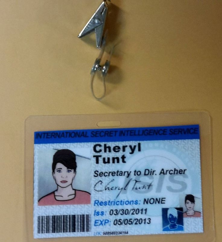 Archer TV Series ID Badge - Cheryl Tunt Costume prop cosplay