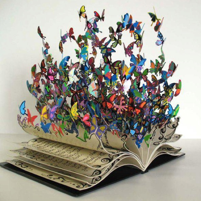 Butterfly book - actual source unknown, saw it posted on a friend's FB page.Metals Sculpture, Book Art, Bookart, Art Sculpture, Book Sculpture, David Walked, Butterflies, Child Life, Altered Book