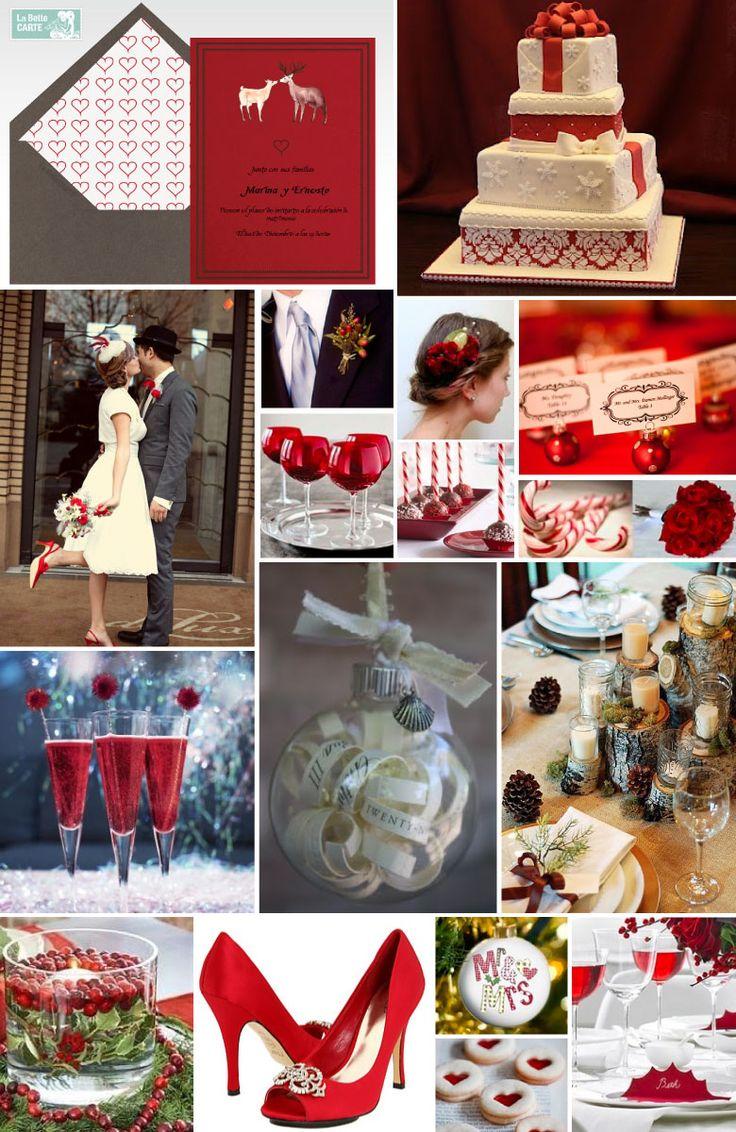 bodas navideñas, ideas para organizar una boda en navidad, invitaciones para bodas en navidad, boda temática navideña    Para más info visita: www.LaBelleCarte.com