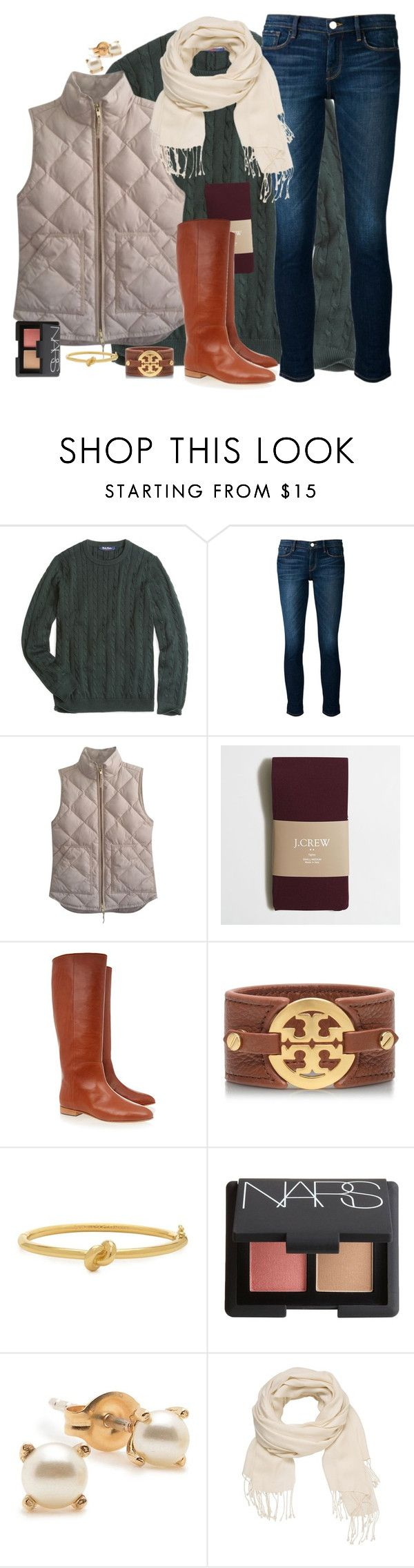 """""""At Least I'm the One Who Tried"""" by southernstylish ❤ liked on Polyvore featuring Brooks Brothers, Frame Denim, J.Crew, Loeffler Randall, Tory Burch, Kate Spade, NARS Cosmetics, Bing Bang and maurices"""