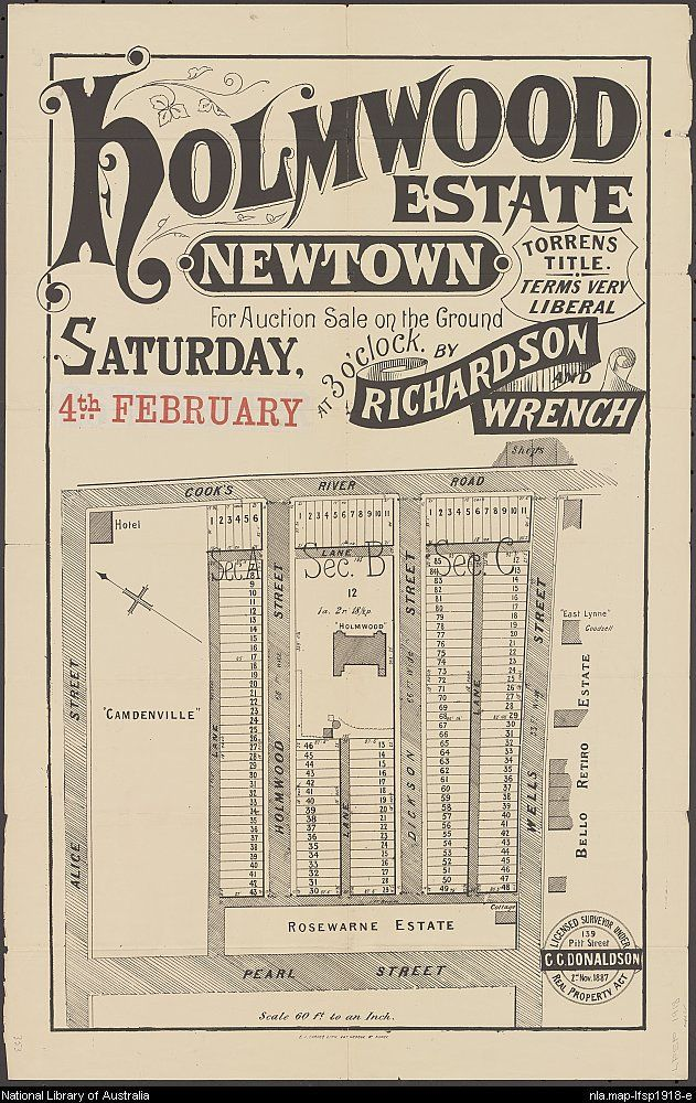 Richardson & Wrench. Holmwood Estate, Newtown : for auction sale on the ground, Saturday, 4th February at 3 o'clock. 1887. National Library of Australia: http://nla.gov.au/nla.map-lfsp1918