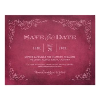 This formal wedding save the date announcement card with an aged vintage wine label style design. Rustic hand-drawn sketches of grapevine leaves frame the important details. A simple flourished monogram appears on the reverse side. Dark red wine / burgundy and dusty rose / mauve pink color scheme. Additional color options below: Wedding Save the Date Card | Vintage Vineyard by Plush_PaperBrowse Wedding Invitations Wedding Save the Date Card | Vintage Vineyard by Plush_PaperMake personalized…