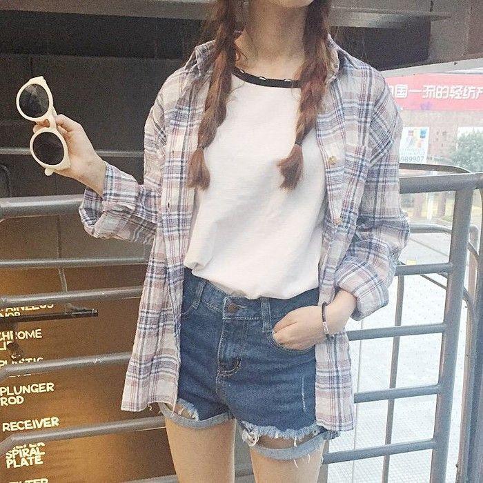 Pesca Fuji  verano para hacer el viejo suelta de algodón de manga larga camisa a cuadros femenina sol camisa casual salvaje retro