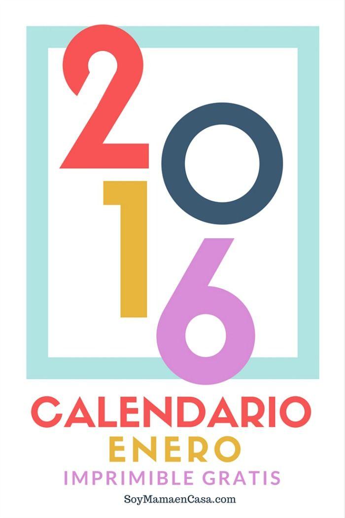 Calendario Enero 2016 Imprimible - Soy Mamá en Casa