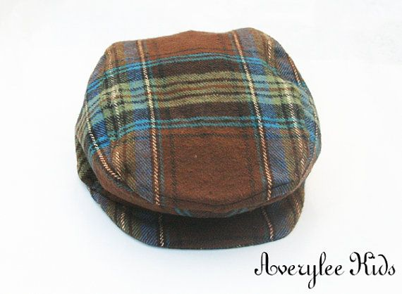 Newsboy Hat for Boys, Flat Top Hat for Boys, Page Boy Hat, Ring Bearer Hat, Brown Plaid Newsboy Cap