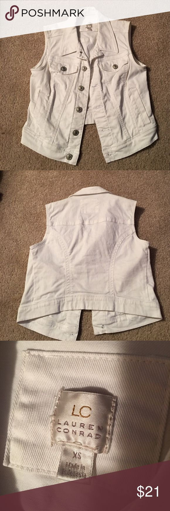 Lauren Conrad white denim cropped vest size XS Super cute NWOT white denim vest by Lauren Conrad. Never worn. Size XS. Would be super cute with layering. OPEN TO OFFERS LC Lauren Conrad Jackets & Coats Vests