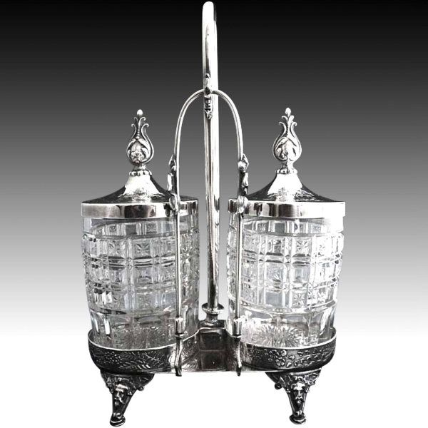 Antique double pickle caster silver stand exclusively at Victoria's Curio ~ #thevintagevillage