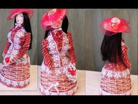 Плетение из газет кукла барышня weaving newspapers Trenzado plano con pe...