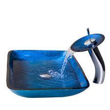 Blue Black Bathroom Vessel Washbasin Tempered Glass Sink Brass Faucet PP1959