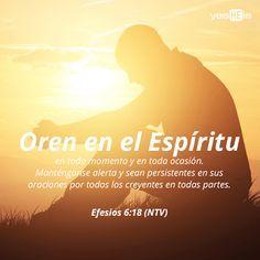 Efesios 6:18 orando en todo tiempo con toda oración y súplica en el Espíritu, y velando en ello con toda perseverancia y súplica por todos los santos;♔