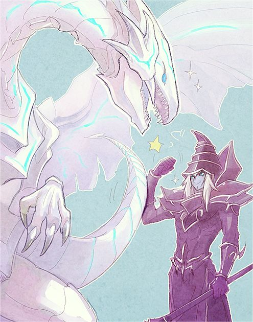 Blue Eyes Alternative Dragon fist bumping Dark Magician