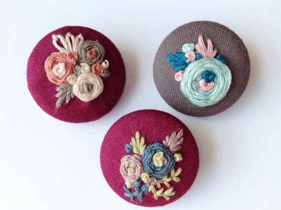 Covered Buttons Hand Embroidered Handmade Stitched Floral Victorian Embroidery…