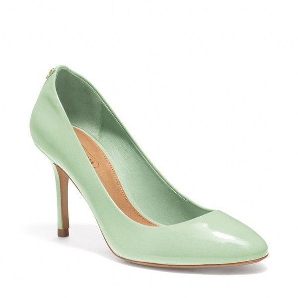 Coach Nala Pump ($158) ❤ liked on Polyvore featuring shoes, pumps, heels, mint, zapatos, coach shoes, patent leather shoes, mint heel shoes, mint green shoes and mint shoes